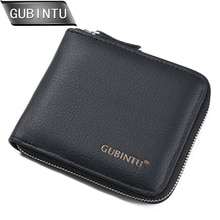 GUBINTU New arrival Men Wallets 100% Genuine Leather Zipper Around Wallet Card Holder Coin Purse Card Holder Wallet Purse