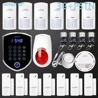 HOMSECUR     systeme dalarme domestique sans fil WCDMA 3G SMS  LED  avec 6   PIR   capteur de porte YC04-3G