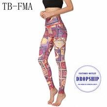 Pantalon imprimé Floral femme sportswear taille haute Compression Yoga pantalon large ceinture séchage rapide tissu sport leggings Skinny