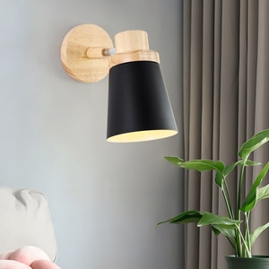 Nordic Macaron Solid Wood E27 Wall Light Creative Retro 7 Colors Iron Wall Lamp For Restaurant Bar Warehouse Cafe