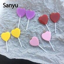 Super Sweet Peach Heart Colorful Lolipop Candy Color Long Tassel Drop Earrings for Female Fashion Lovely Candy Dangle Earrings