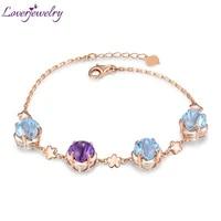 loverjewelry lovely new citrine topaz amethyst bracelet real 14k rose gold bangle fine jewelry wife daughter birthday gift