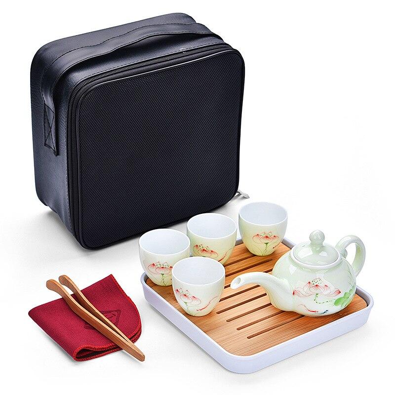 الشاي وعاء مجموعة رسمت باليد سيلادون السفر المحمولة الكونغ فو إبريق 1 وعاء 4 كوب مع علبة الشاي كيس الشاي السيراميك مجموعة غلاية