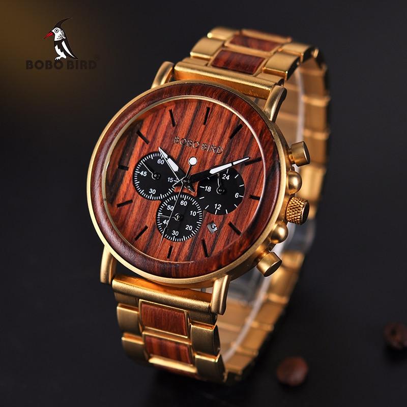 BOBO BIRD Wooden Men Watch Relogio Masculino Top Brand Luxury Chronograph Date Display Stop Watches erkek kol saati Great Gifts