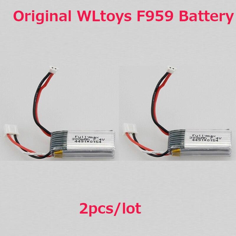 2 unids/lote Original WLtoys F959 batería/XK A600 batería (batería de 7,4 V 300 mAh) WLtoys F959 piezas de repuesto envío gratis