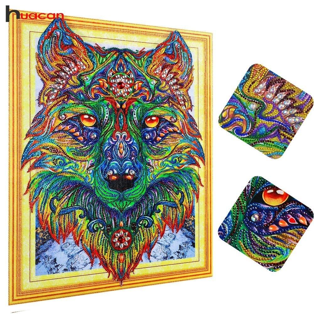 Huacan Diamond Painting Animal Special Shape Diamond Embroidery Wolf Mosaic Picture Rhinestones Home Decor 40x50cm