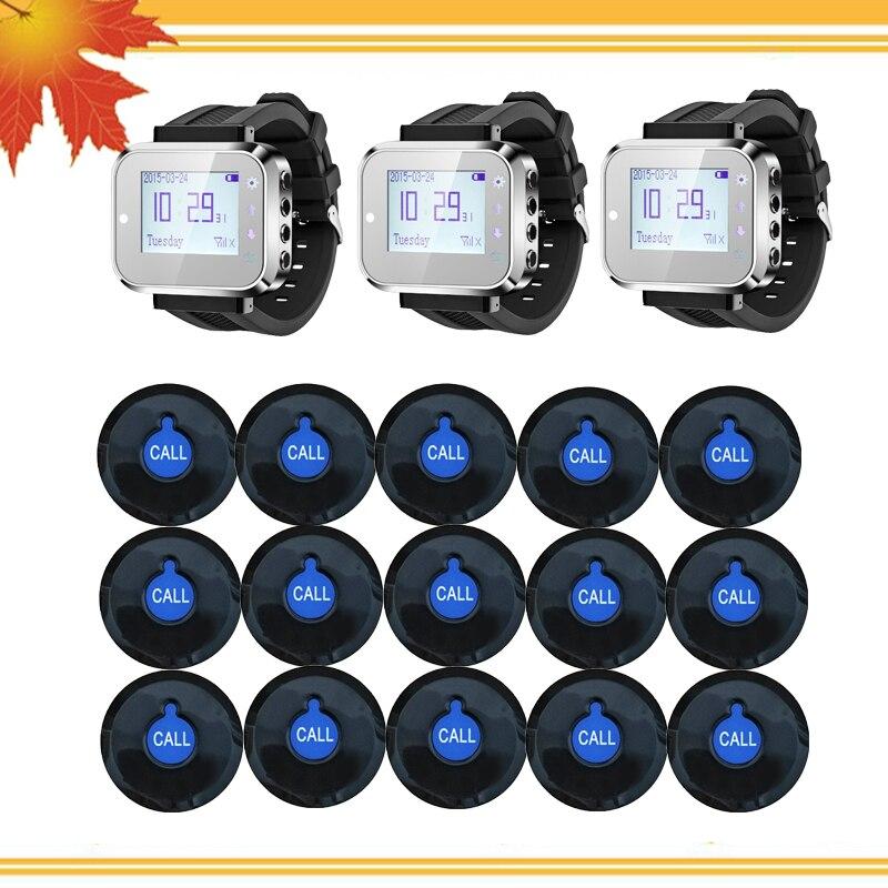 15 botón transmisor de llamada 3 reloj receptor sistema de llamadas inalámbrico camarero llamada buscapersonas restaurante equipo servicio al cliente