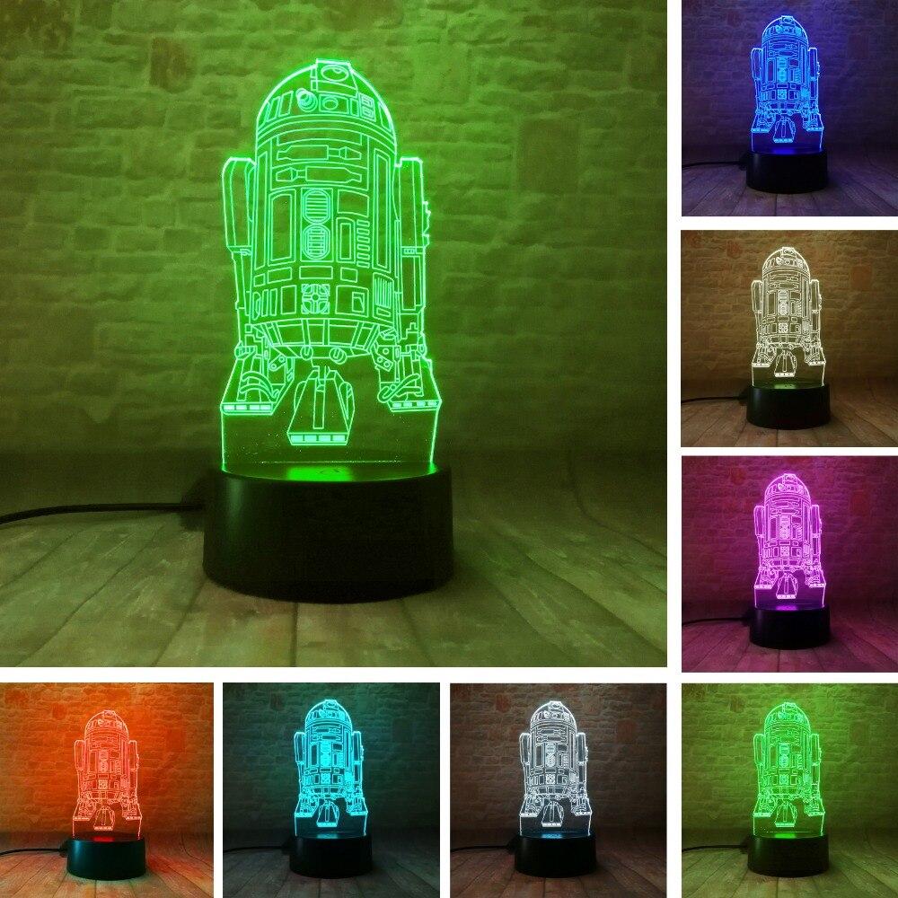 R2-D2 Robot modelo 3D ilusión LED lámpara colorida táctil luz de noche Luz de escritorio intermitente R2D2 figura de Star Wars Juguetes