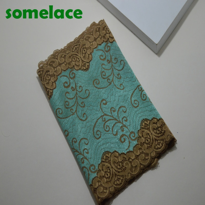 1Y 24,5 CM recién llegado tela de encaje elástico verde, costura de encaje de boda, accesorios de ropa DIY 17112518