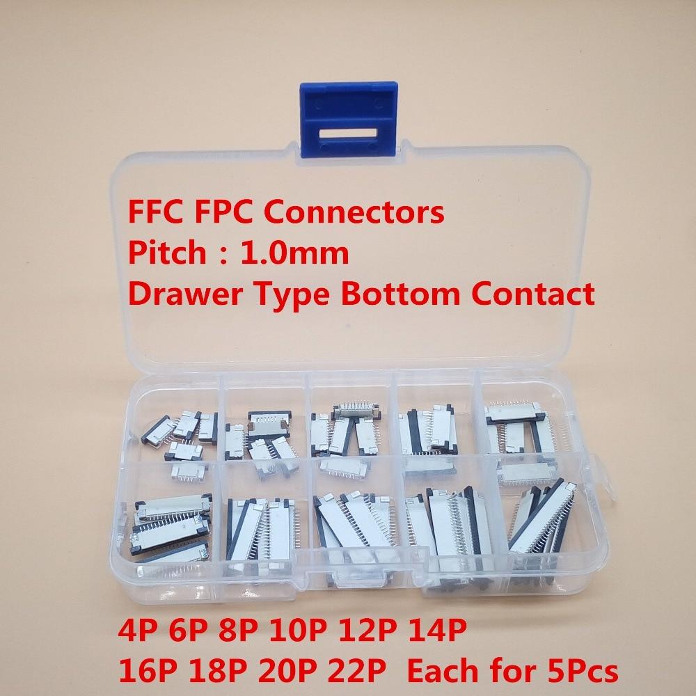 FPC коннектор FFC, 50 шт., 1,0 мм, 4/6/8/10/12/14/16/20/22 Pin, тип выдвижного ящика, плоский кабель, комплект коннекторов