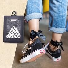 Chic Streetwear femmes Harajuku noir respirant noeud noeud résille chaussettes. Sexy évider maille filets chaussettes dames fille noeud Sox