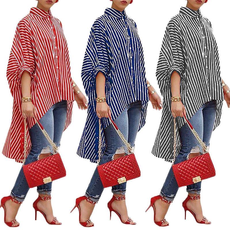 MeiHuiDa 2018 nuevo estilo de moda de mujer de manga larga blusa suelta Casual a rayas botón blusa larga