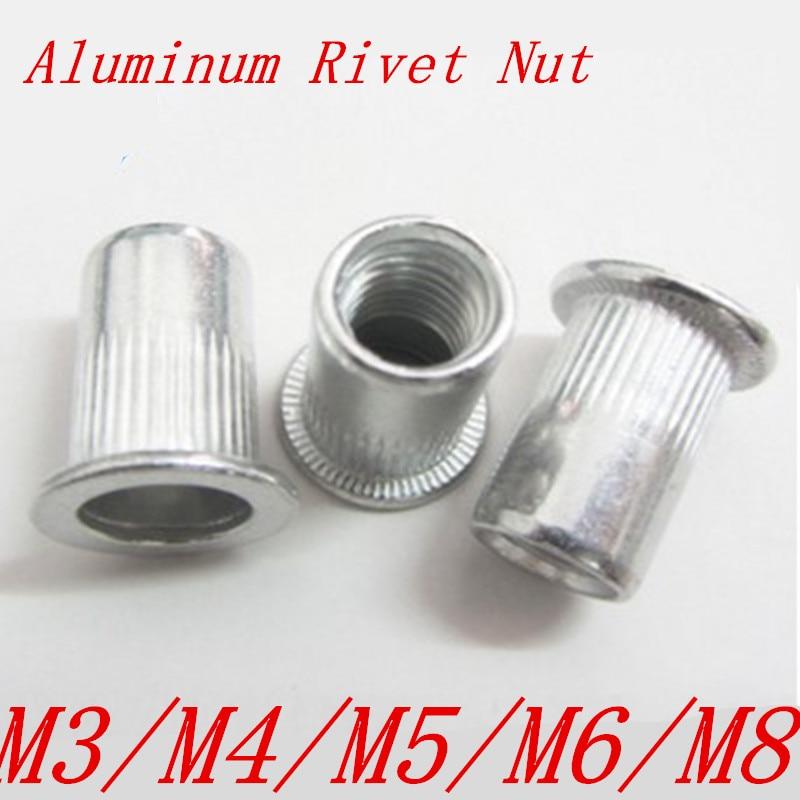 50pcs/20pcs M3 M4 M5 M6 M8  flat head aluminum Rivet Nut Rivnut Inserts Nut