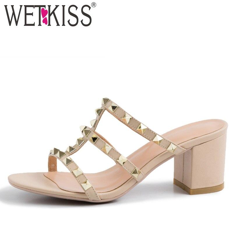 WETKISS, zapatillas de cuero de vaca para mujer, novedad de 2020, zapatos deslizantes con tachuelas, zapatos de tacón alto para mujer, zapatos de mujer con remaches de verano