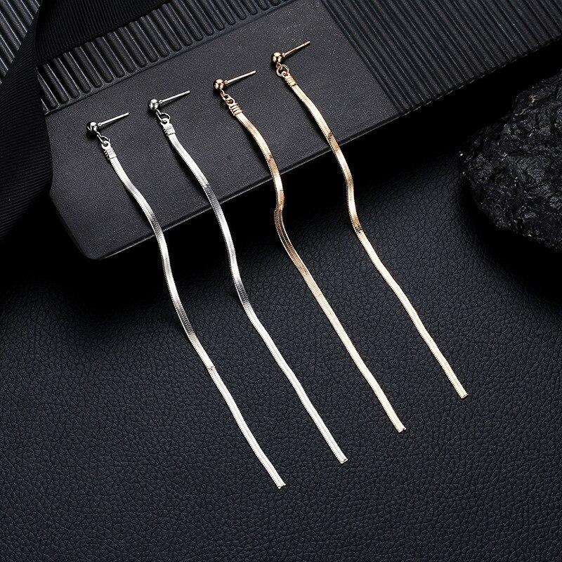 Fashion Simple Gold Silver Color Drop Earrings for Women Long Metal Tassel Hanging Dangle Earrings Jewelry Gift Brincos Bijoux