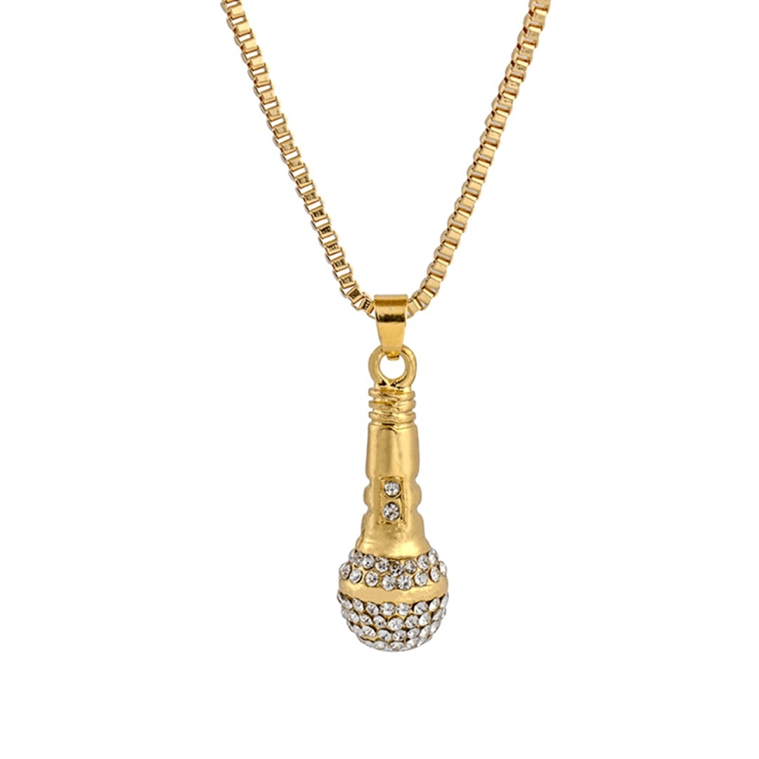 Colar de corrente de cristal pingente de microfone de rapper masculino feminino cor de ouro strass colar shellhard hip hop jóias acessórios