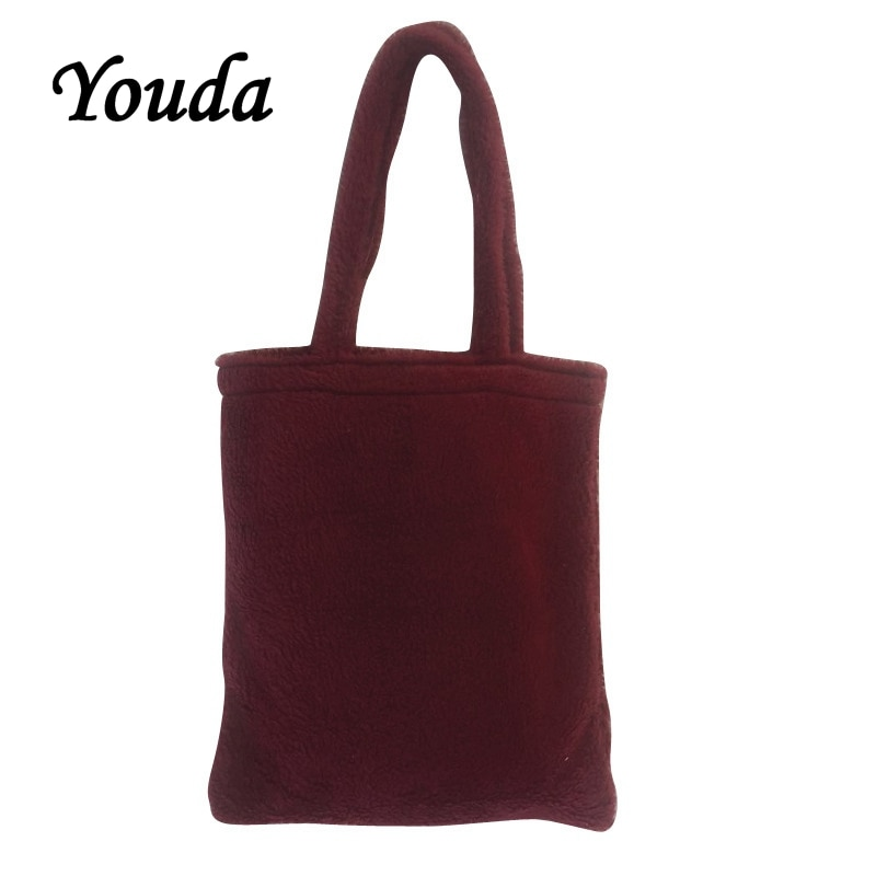 Youda, bolso nuevo estilo Harajuku, bolso de hombro de Material de lana y terciopelo para mujer, bolso de mano informal sencillo de Color sólido, bolso de compras