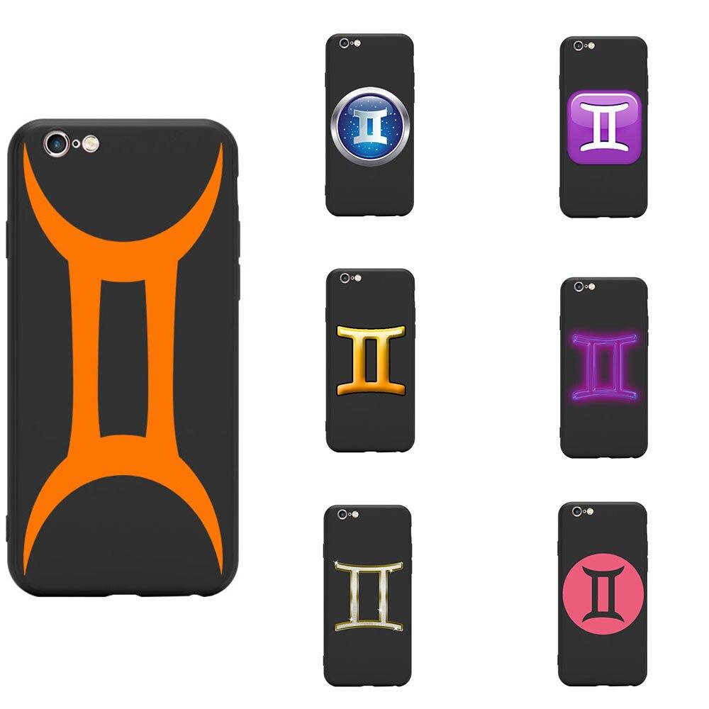 Astrológico signo del zodiaco constelación de Géminis logotipo signo tema cubierta de teléfono de TPU suave para el iPhone 6 7 8 S XR X 11 Pro Max