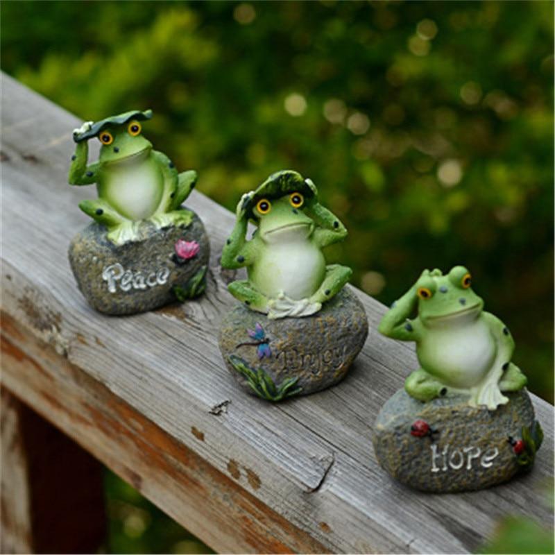 Figuras de animales de rana de resina, decoración de jardín, figuras en miniatura para exteriores, adorno de patio de bienvenida