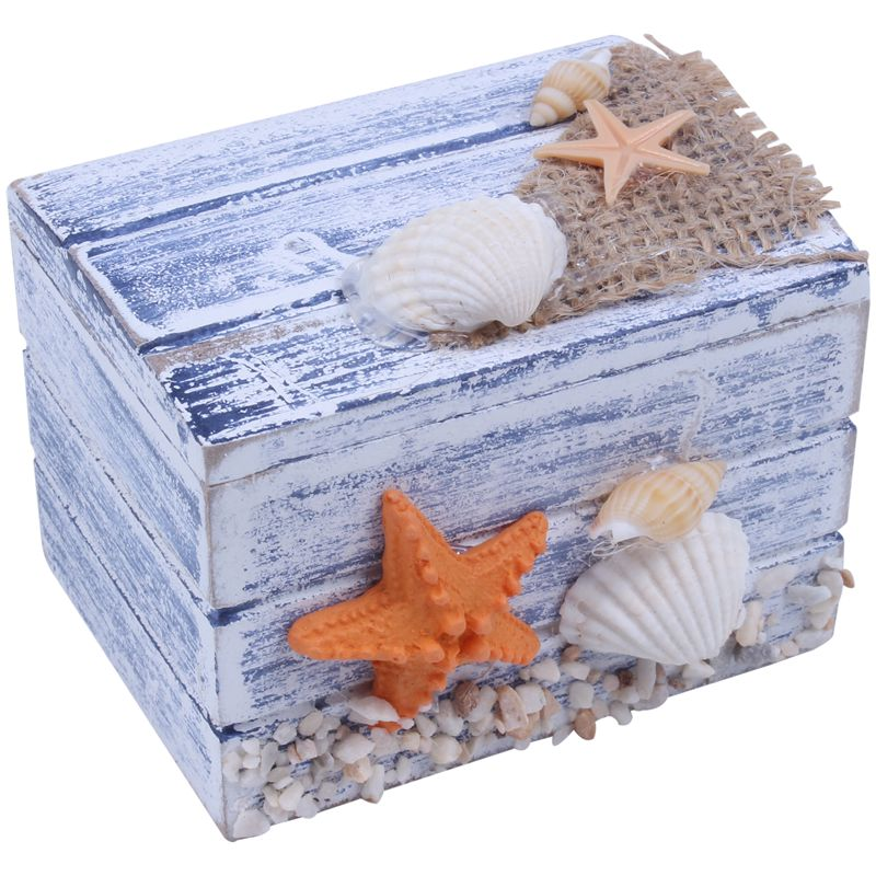 Mini mar de madera pirata tesoro joyería almacenamiento cofre Craft organizador de caja