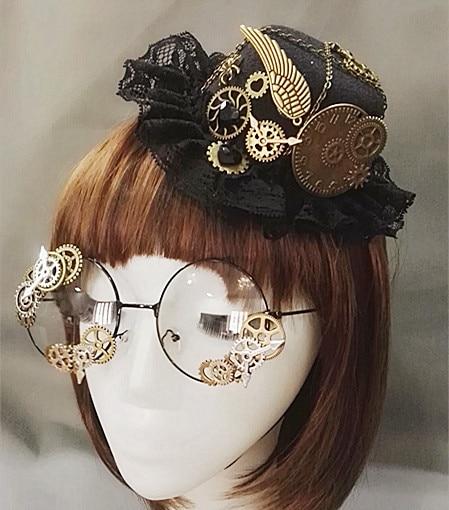 Punk Neuheiten Steampunk Viktorianischen Getriebe Mini Top Hut Kostüm Haar-accessoire Handgemachte Mit Dampf Punk Getriebe Gläser