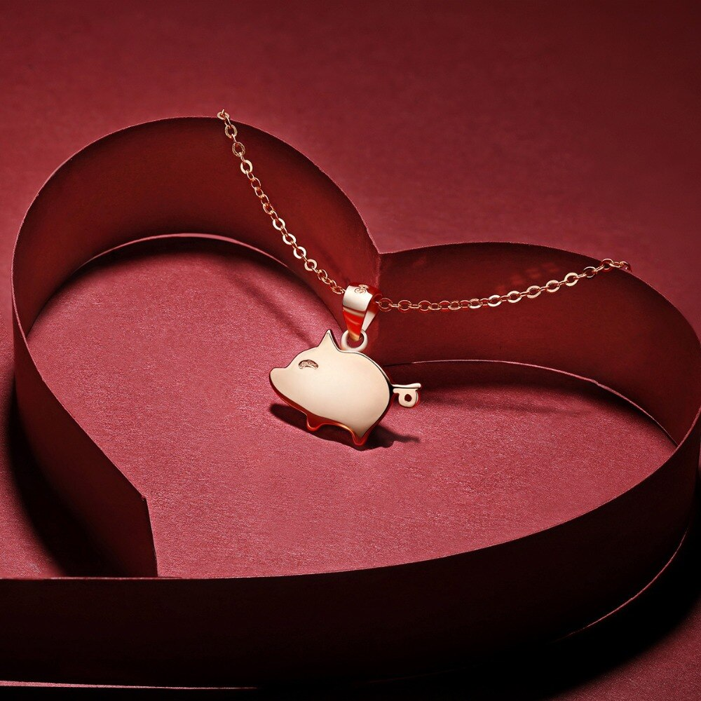Collar de cerdo de Plata de Ley 925 Daisies, collar de Año Nuevo chino del zodiaco, regalo para mujeres, collares colgantes