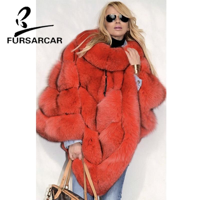 FURSARCAR 2021 شتاء جديد فاخر نمط سميكة الرأس ريال فوكس الفراء شالات النساء موضة الثعلب الفراء المعطف الإناث مع الفراء طوق
