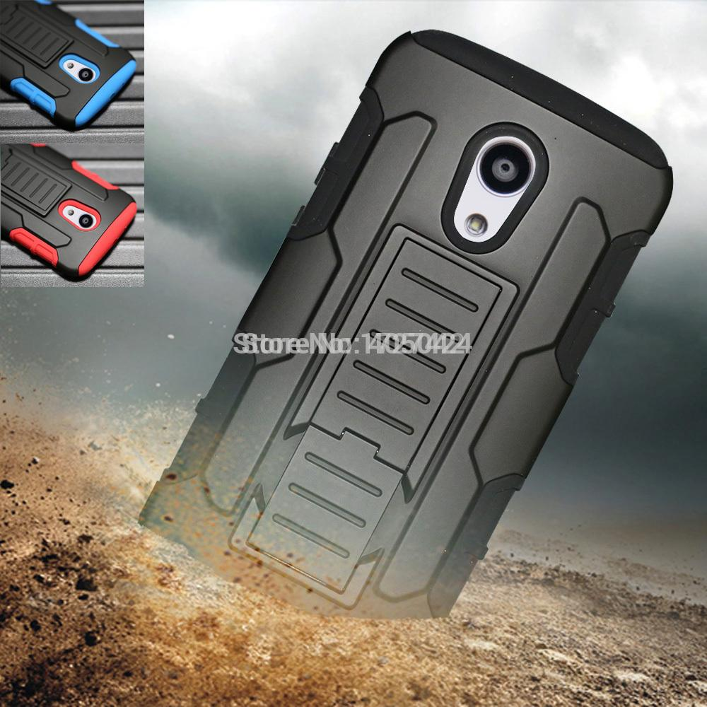 Support de protection armure Impact étui rigide + étui avec Clip ceinture support de coup de pied pour Motorola Moto G2 G 2nd Gen XT1068
