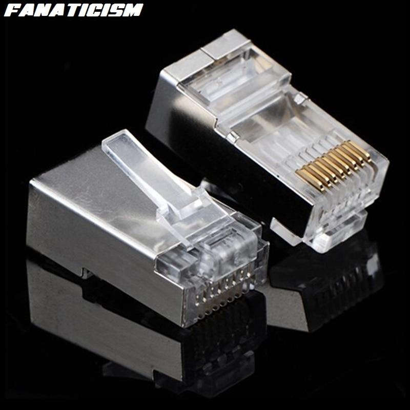 5000 Uds adaptador de conector de red Ethernet 8 pines cabezas de Cable de red Lan Escudo de Metal 8P8C RJ45 RJ-45 CAT6 CAT6E enchufe Modular