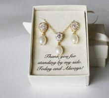 Ensembles personnalisés de boucles doreilles   Colliers de demoiselle dhonneur en forme de goutte deau fraîche, ensembles de colliers, bijoux CZ, cadeaux de proposition