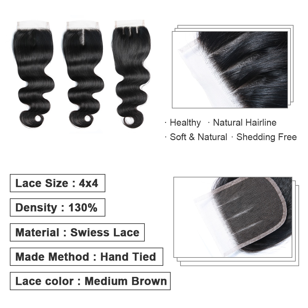 4x4 Lace Brazilian human hair closure 2