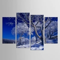 4 piecesset posters and prints snow tree wall art unframed canvas painting wall pictures for living room nordic decoration