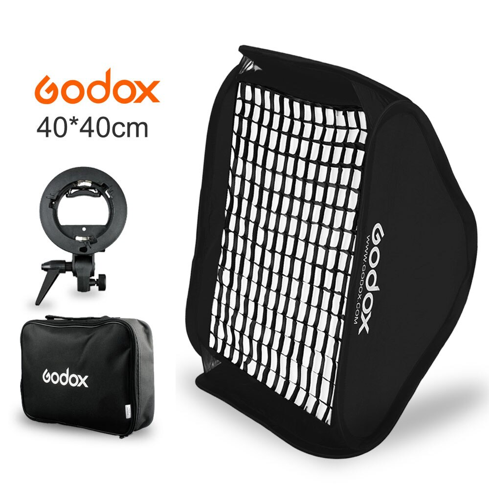 Kit de difusor de Soft Box para Flash Godox de 40x40cm, 15x15 pulgadas + rejilla tipo panal + soporte tipo S, soporte Bowens para Flash Speedlite