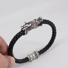 2019 nouveau Design Vintage Bracelet tête de Dragon pour les femmes en cuir épais corde animaux Bracelets et Bracelets petit ami cadeaux en gros