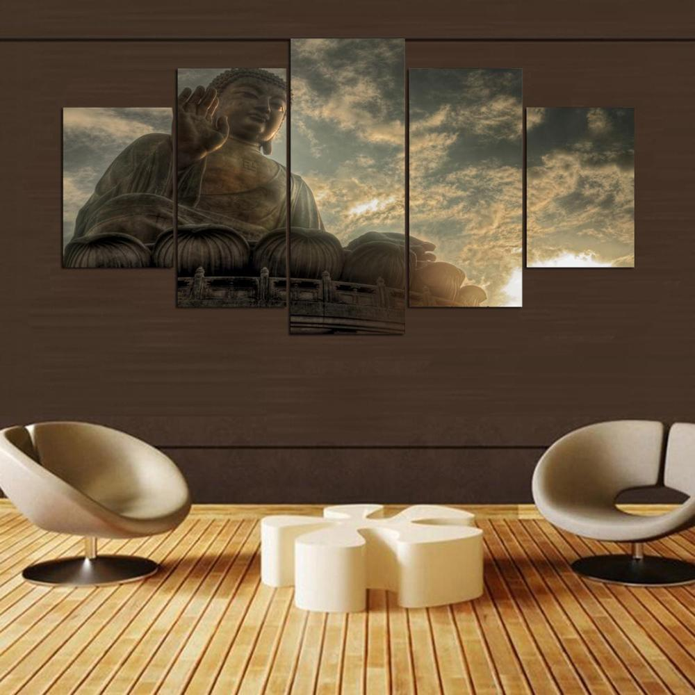 Pintura abstracta 5 paneles Buda paisaje cuadro moderno hogar decorativo sala de estar lienzo HD impreso pared arte Modular cartel