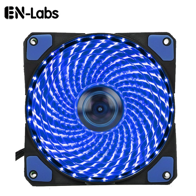 Ультратихий вентилятор En-Labs 120 мм для ПК, 16 дБ, 33 светодиода, теплоотвод, охлаждение с антивибрацией, вентилятор 12 см, 12 В постоянного тока, 3 P, 4pin