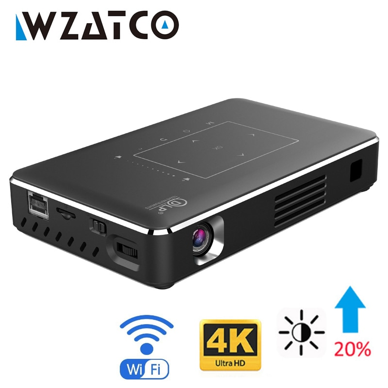 WZATCO inteligente LED, Proyector DLP Android WIFI Bluetooth 4,1 4k Full HD...