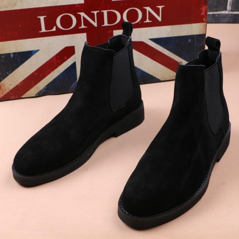 Inglaterra estilo marca designer homens casual chelsea botas primavera outono tornozelo bota de camurça de vaca couro botas hombre deslizamento-on sapatos masculinos