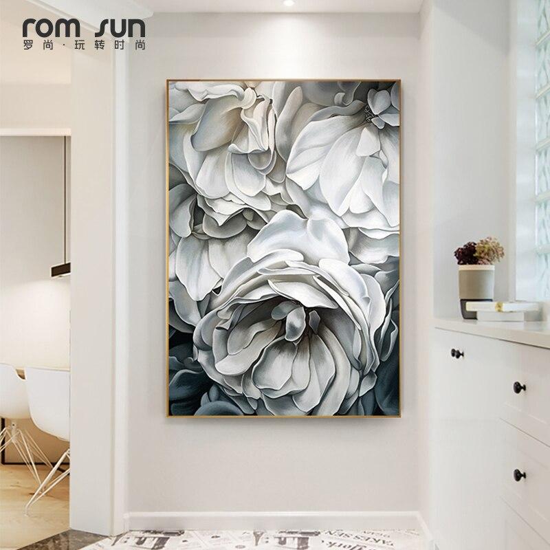HD Nordic Stil Weiß Rose Leinwand Malerei Kunst Wand Bilder Für Wohnzimmer HD Modern Home Dekoration Poster Und Drucke LS006