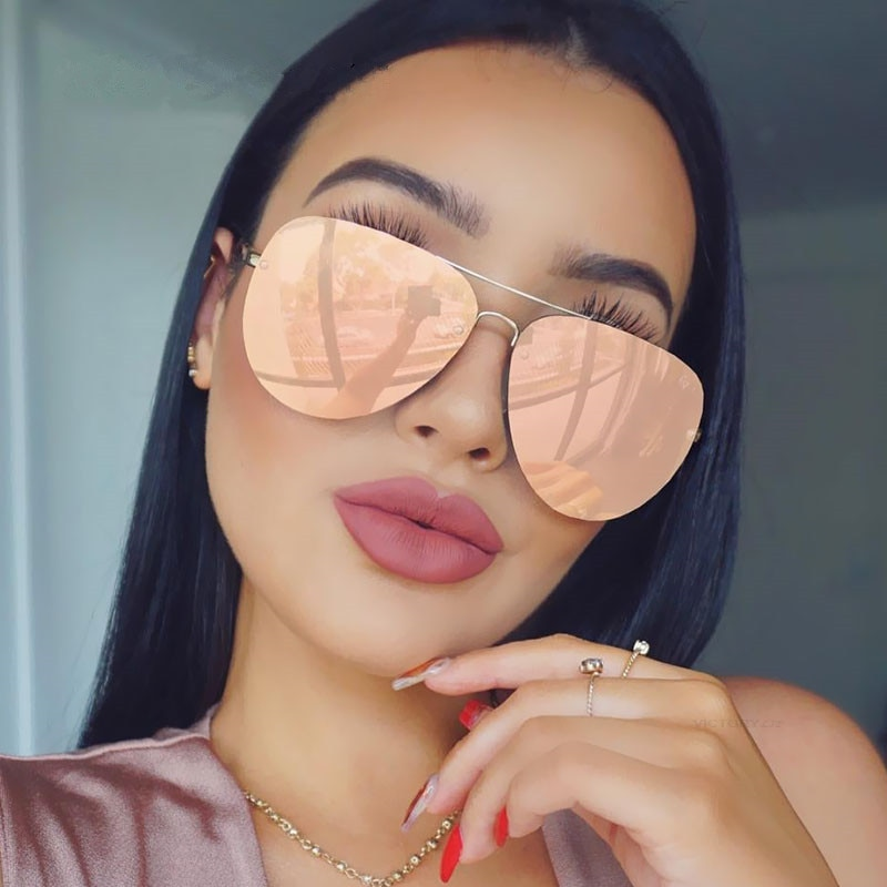 2021 Brand Designer Oversized Pilot Oval Sunglasses Women Men Sun Glass Aviation Metal Frame Mirror