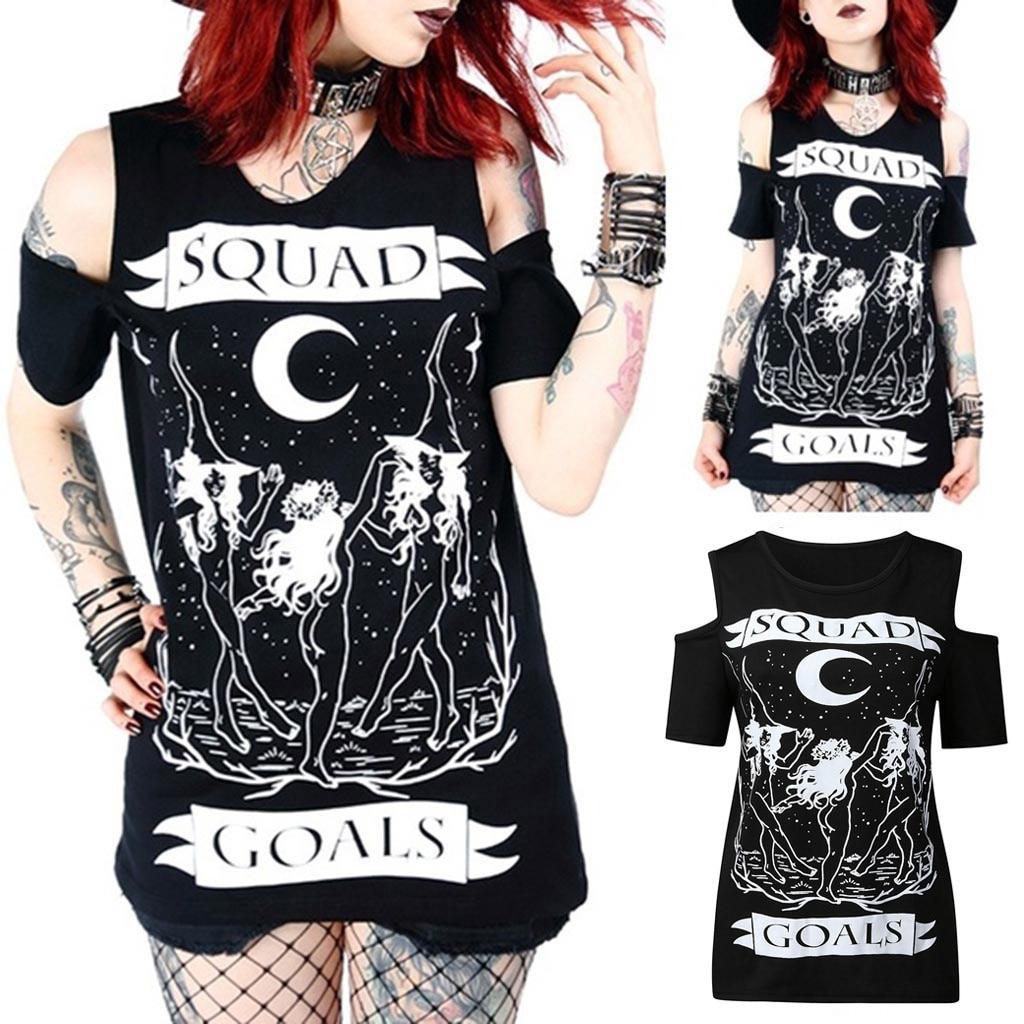 Novo estilo gótico do punk imprimir fora do ombro manga curta topos camiseta camisa camisa de manga curta feminina haut harajuku