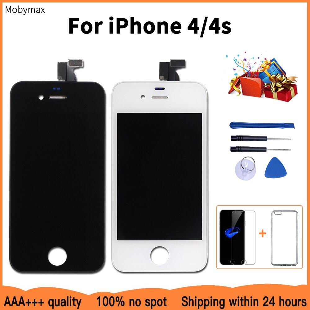 Pantalla LCD de Promoción de fábrica para iPhone 4S comprobar y probar uno por uno para iPhone 4 LCD pantalla táctil cristal digitalizador montaje + regalos