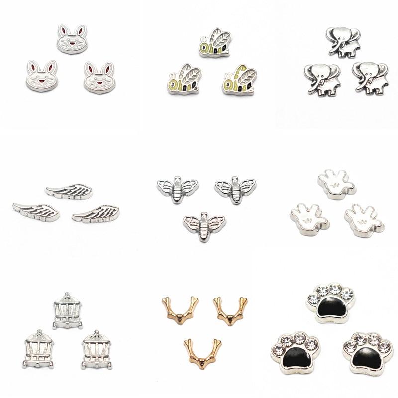 Chegada nova MIx 10 pçs/lote coelho animal da pata do cão encantos flutuantes encantos medalhão memória vidro viver flutuantes jóias