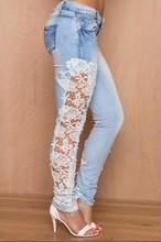 Moda Streetwear frente trasero azul claro lavado Jeans lado encaje Floral bordado Sexy Hollow Out Skinny Jeans pantalones largos de tubo