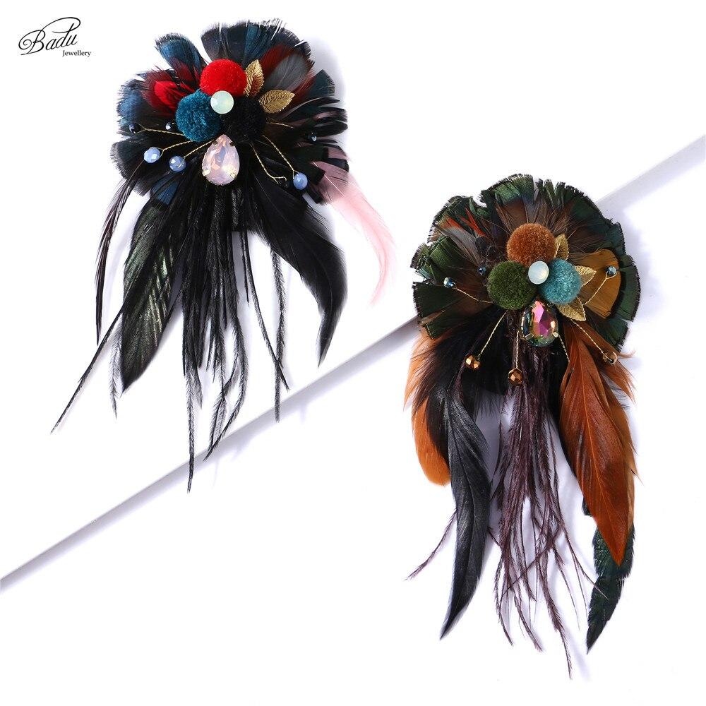 Badu Black Brooch Pin Women Vintage Feather Jewelry Big Brooch Clip Flower Eevning Party Banquet Corsage Handmade Dropship