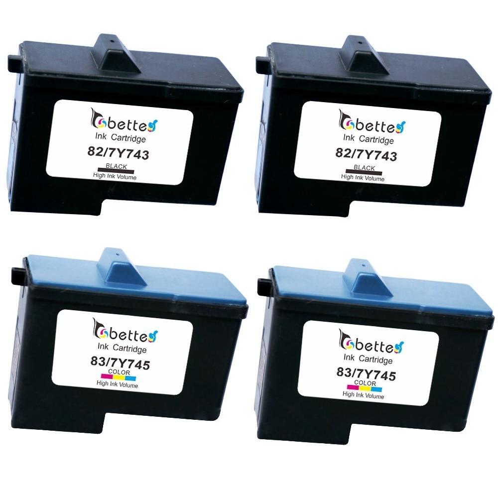 4PK, Cartucho De Tinta para Lexmark 82 83/Dell 7Y743 7Y745 Impressora X5100 X5150 X5190 X5200 X6100 X65 Z55 Z65 A946 A940 A960 A962 A964