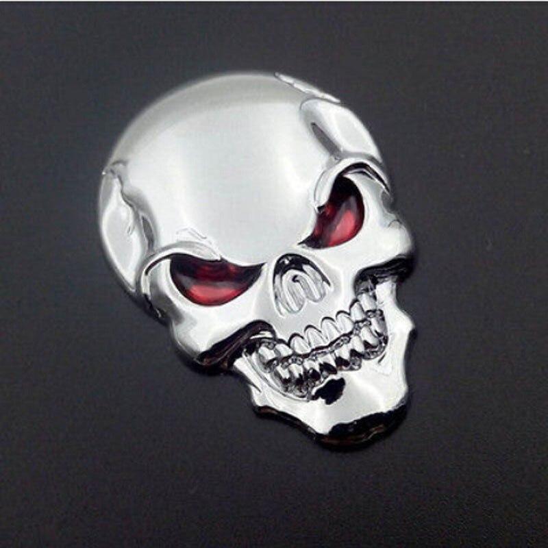 Gran oferta Auto motocicleta calavera pegatina de hueso cromo plata 3D Metal emblema insignia coche pegatina con cinta 3M Back 50x35MM