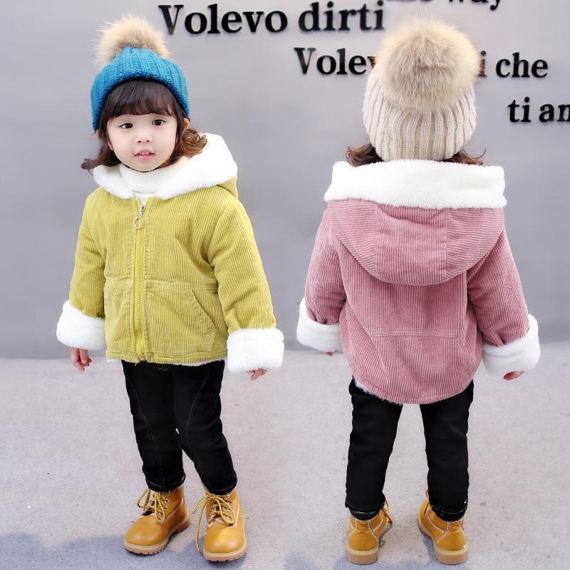 2017 nueva moda lindo chica con capucha de invierno Niño niños bebé niña Tops chaqueta terciopelo de cordero chaqueta abrigo de algodón Outwear