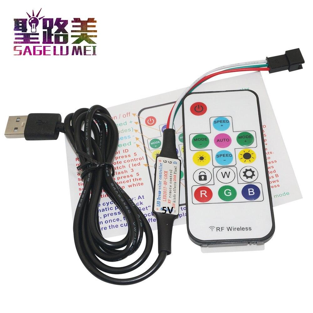 Frete grátis dc5v pixel digital cor cheia rgb led controlador rf remoto usb plug para ws2812 led luz de tira fita
