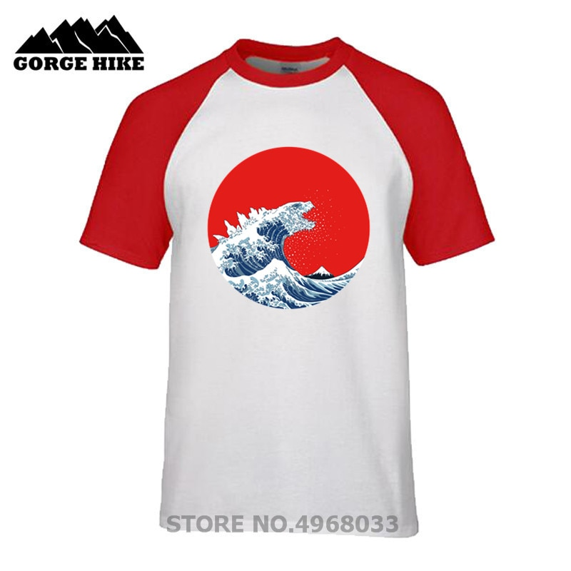 Camiseta para hombre Hokusai Kaiju, camiseta de Cultura de gran ola de Kanagawa, sudadera rosa con capucha para hombre, camiseta de Skateboard, tops de nueva llegada